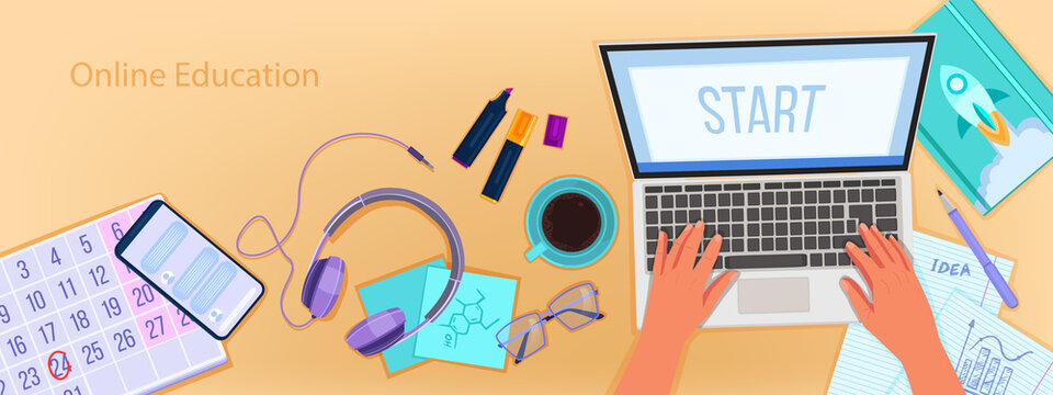 Online education vector banner with home office workplace top view, laptop, typing hands. University or school internet courses background with stationery, smartphone. Online education flat lay