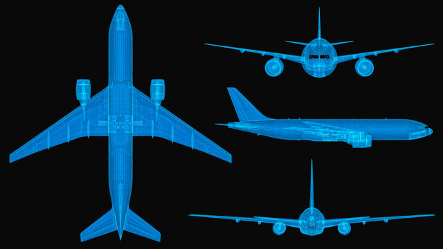 Plane 3d wireframe with thin blue lines. Aviation futuristic hologram on black background. 3d illustration