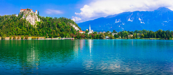 Beautiful romantic lake Bled. view with castle over the rock. Popular tourist destination in Slovenia