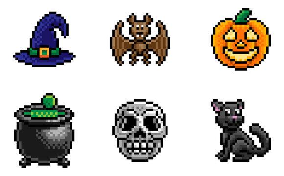 A Halloween eight bit retro video game style pixel art icon set
