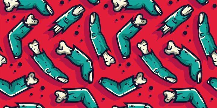 Colored seamless pattern with scary horrible zombie fingers for halloween holiday design. October party banner, poster or postcard