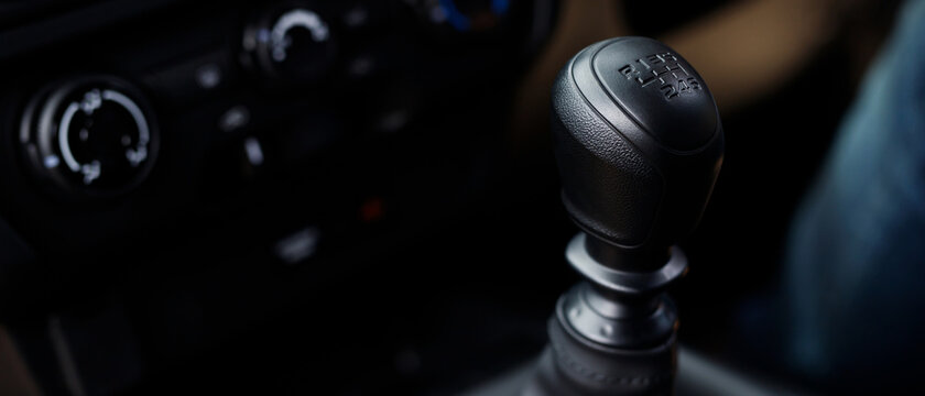Manual Transmission Driving. Modern Car with 6 speed gear stick.
