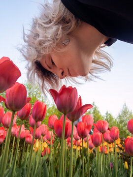 Blonde girl sniffing red tulips