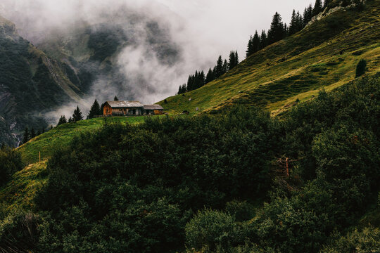 Remote Alpine Cabin on Wet Fall Day
