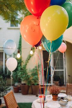 Birthday balloons in the garden
