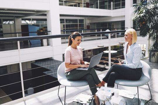 Smiling businesswomen having a meeting