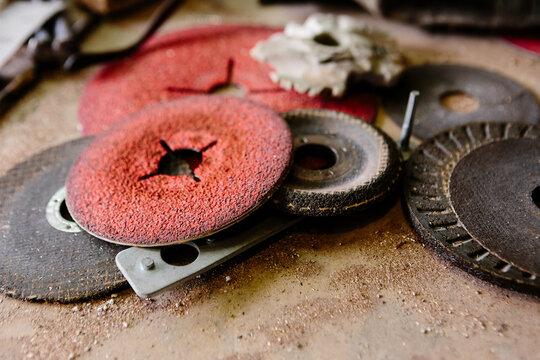 Detail of sanding discs