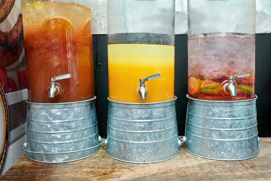 Jars with colourful refreshing drinks