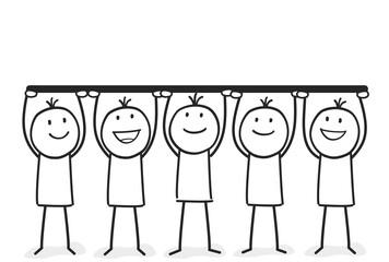 Strichmännchen halten Balken hoch mit Platz für Ihr Text oder Logo