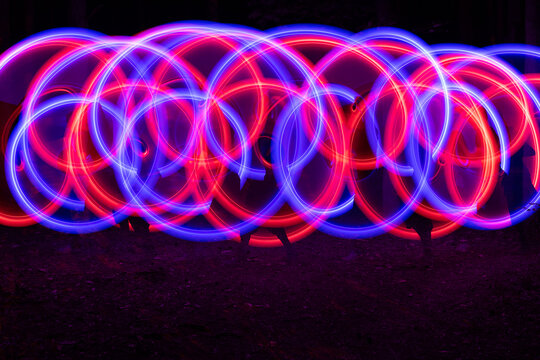 Abstract neon shapes made with LED poi