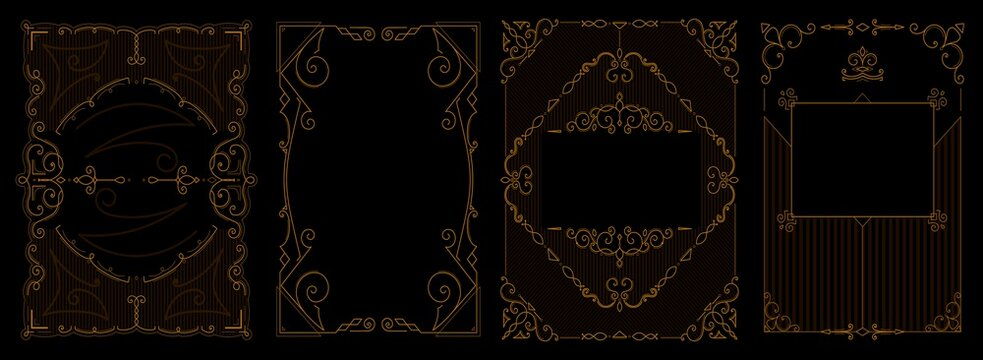 Set of Art deco borders and frames. Vector illustration.
