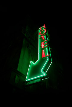 Hotel Neon Sign at Night