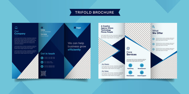 Corporate business trifold brochure template. Modern, Creative and Professional tri fold brochure vector design. Simple and minimalist promotion layout with blue and navy color.