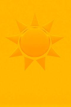 Illustration of a sun on orange/yellow background