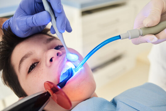 Dental checkup for little brave patient