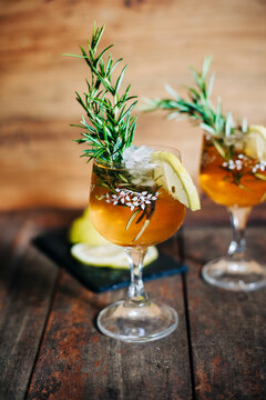 two glass of Rosemary gin fizz cocktail