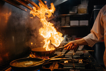 Crop chef cooking a WOK on gas stove Wall mural