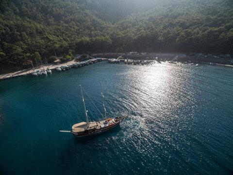 Gulet, traditional wooden boat sails the turkish water