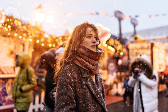 beautiful young woman at new year's fair