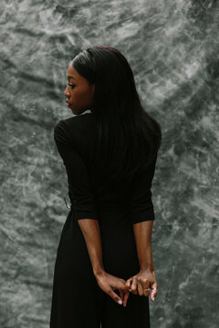 back and profile of beautiful black woman