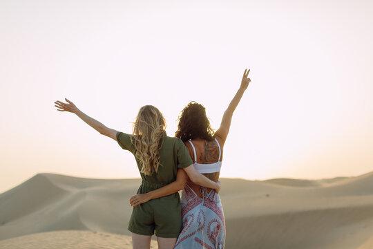 Two women in the desert