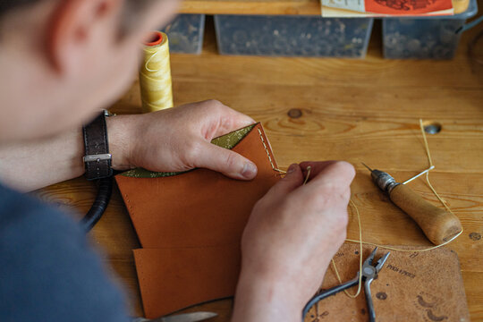 production process in a leather workshop