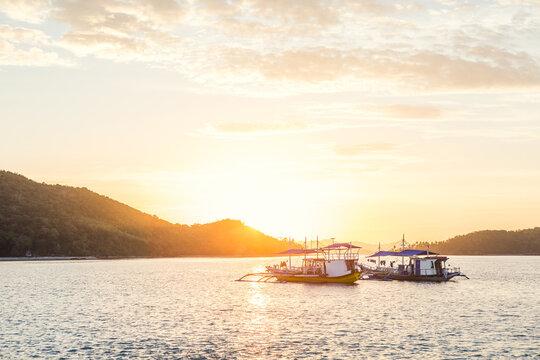 Banka boats at sunset