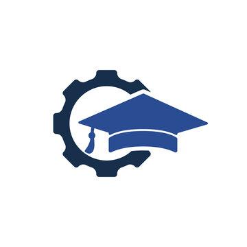 Industrial engineering education vector logo design. Student gear vector logo template.