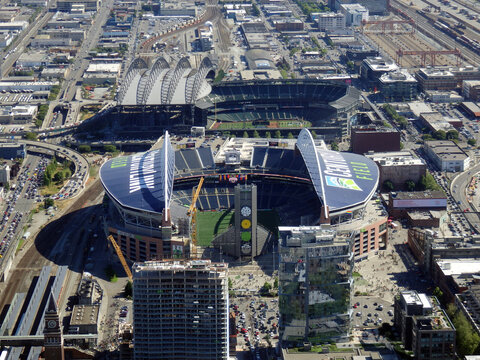 Aerial View of CenturyLink Field and Safeco field