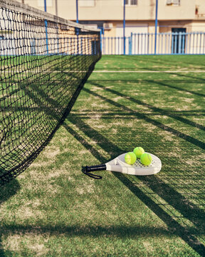 Modern racket and balls for paddle tennis placed on grass of sports ground on sunny day in summer