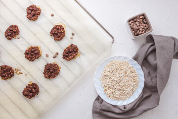 Flat lay shot of oatmeal and banana cookies with chocolate chips