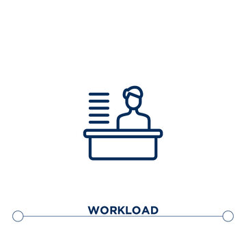 workload outline vector icon. thin line black workload icon. flat vector simple element illustration. editable vector stroke workload icon on white background