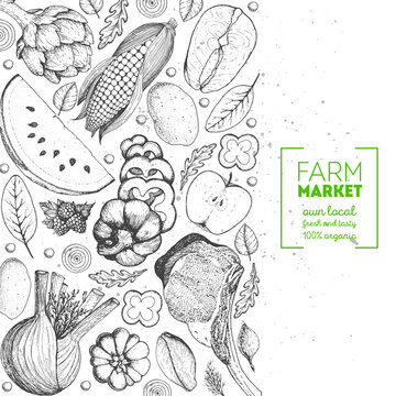 Healthy food frame vector illustration. Vegetables, meat and fish hand drawn. Organic products set. Farm market food collection