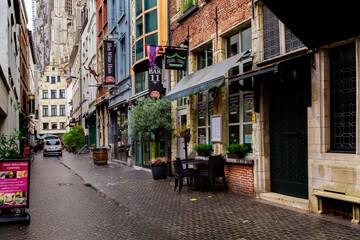 ANTWERP, BELGIUM - October 2, 2019: Old historic buildings on the streets of Antwerp, Flemish region, Belgium