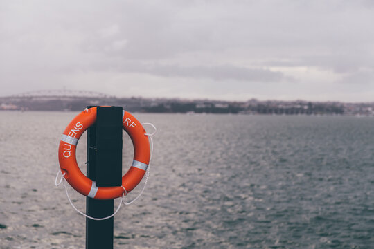 Life preserver hanging on a dock