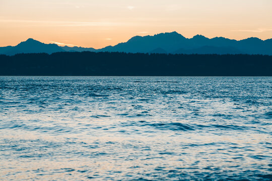 Puget Sound and Olympic Mountains at dusk
