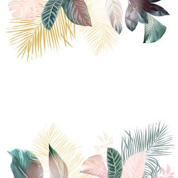 Paradise plants chic card. Stylish fashion banner.