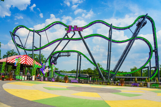 The Joker roller coaster in Six Flags Jackson Township New Jersey USA