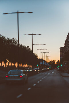 driving on the avenue at sunset