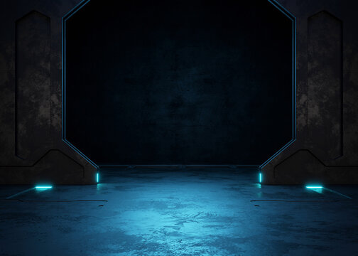 Empty dark room, Modern Futuristic Sci Fi Background