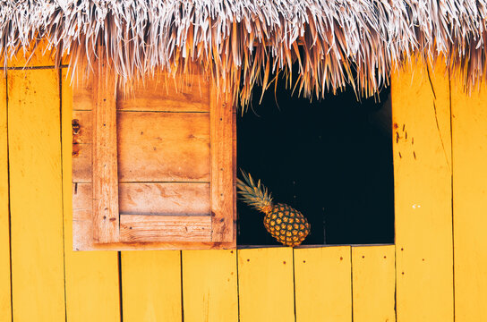 Pineapple on the windows of a simple yellow shack