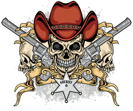 cowboys  skull in hat and guns, grunge vintage design t shirts