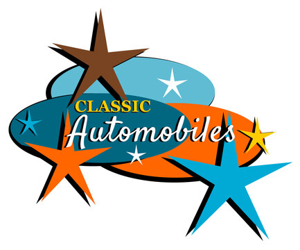 Mid-century modern classic automobiles vintage label