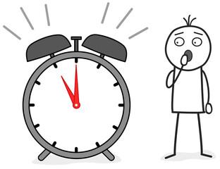 Strichmännchen ist zu spät und schaut auf die Uhr