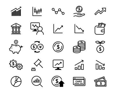 株、投資、金融、経済のアイコンのセット/ビジネス/株式/株価/証券/お金/紙幣/貨幣/グラフ