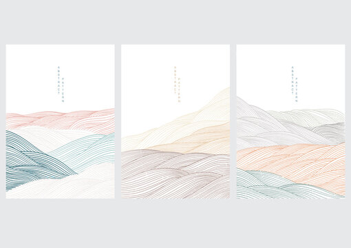 Landscape background with Japanese wave pattern. Abstract template with line pattern. Mountain layout design in oriental style.