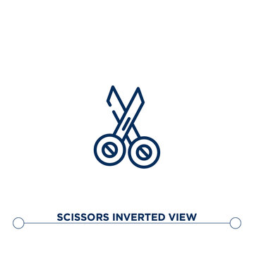 scissors inverted view outline vector icon. simple element illustration. scissors inverted view outline icon from editable woman clothing concept. can be used for web and mobile