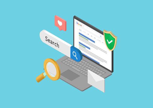 インターネットと検索結果のイラスト素材