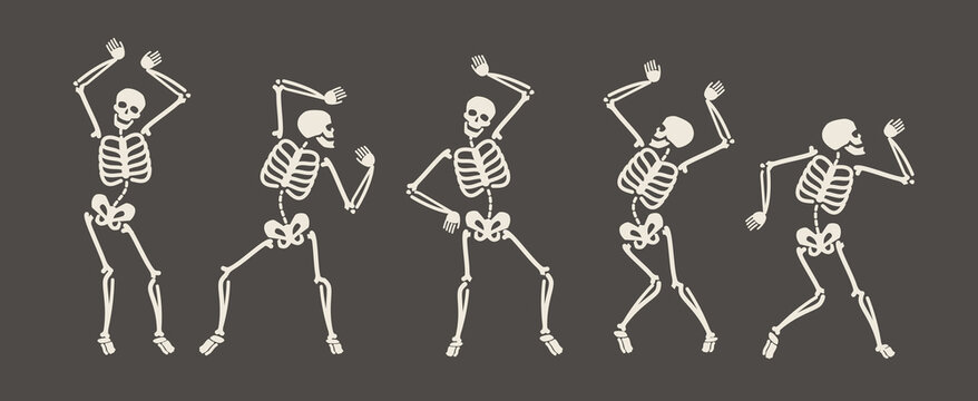 Funny skeletons dancing. Day of Dead, Halloween concept vector illustration