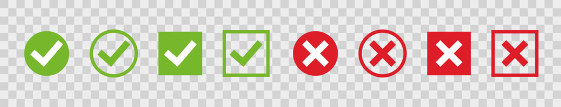 Set green check marks and red crosses of simple web buttons. Circle and square. Large collection of flat buttons. Vector illustration.